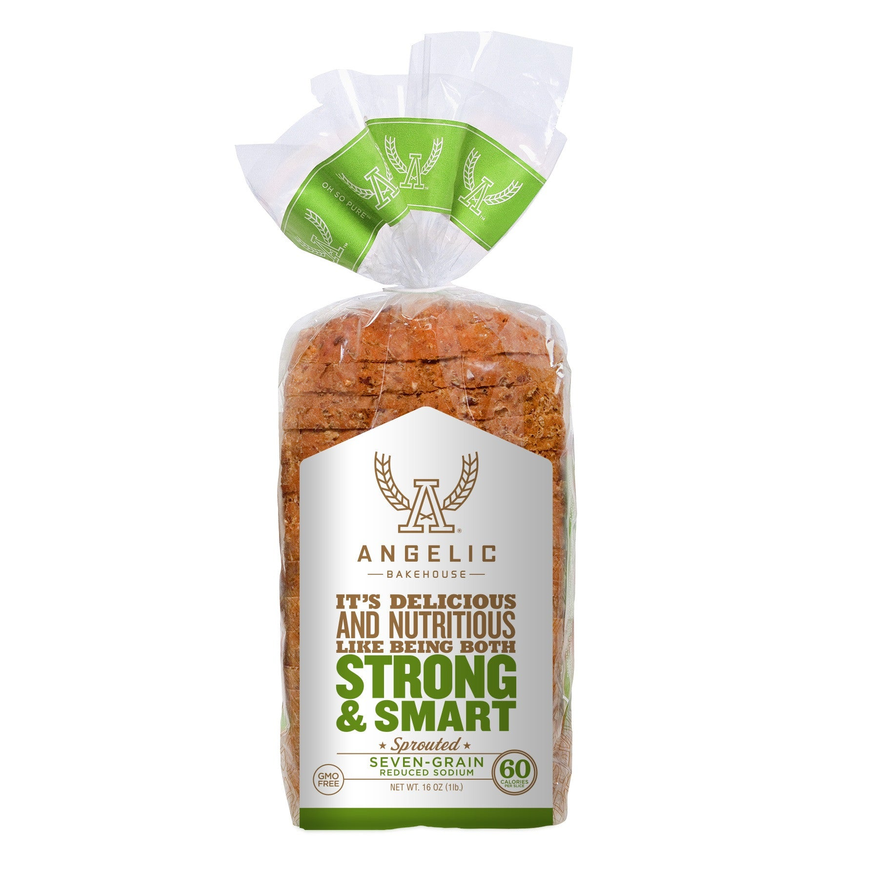 Angelic Bakehouse Seven-Grain Sprouted Reduced Sodium Bread, 16 Oz (Pack of 8)