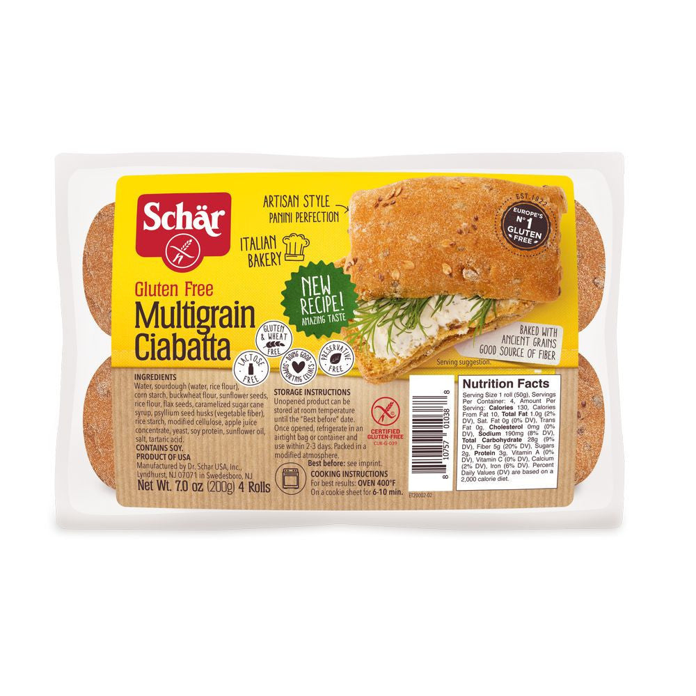 Schar Multigrain Ciabatta Rolls, 7 Oz (Pack of 6)