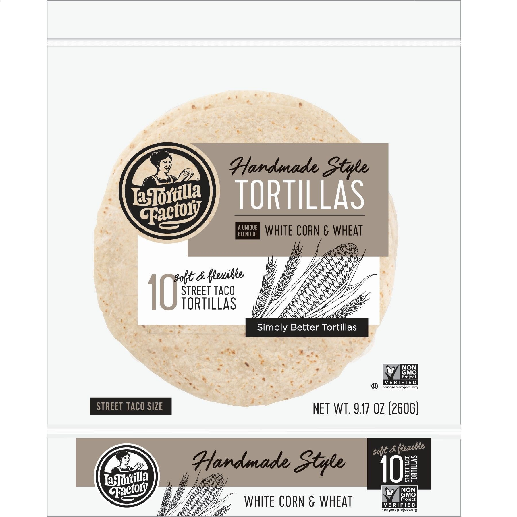 La Tortilla Factory Non-GMO Hand Made Style Tortillas, White Corn & Wheat, Street Taco Size 10 Ea (Pack of 12)