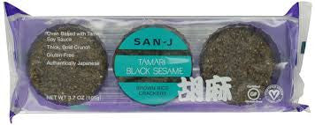 San J Tamari Black Sesame Brown Rice Crackers, 3.7 OZ (Pack of 12)