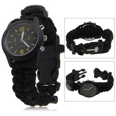 6 in 1 Survival Watch - Whistle,Compass,Flint & Blade