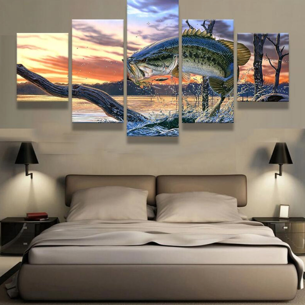 Exceptional 5 Panels Printed Jumping BASS Fish Painting Canvas 5 Pieces Prints Poster  For Living Room Home Decor Frame