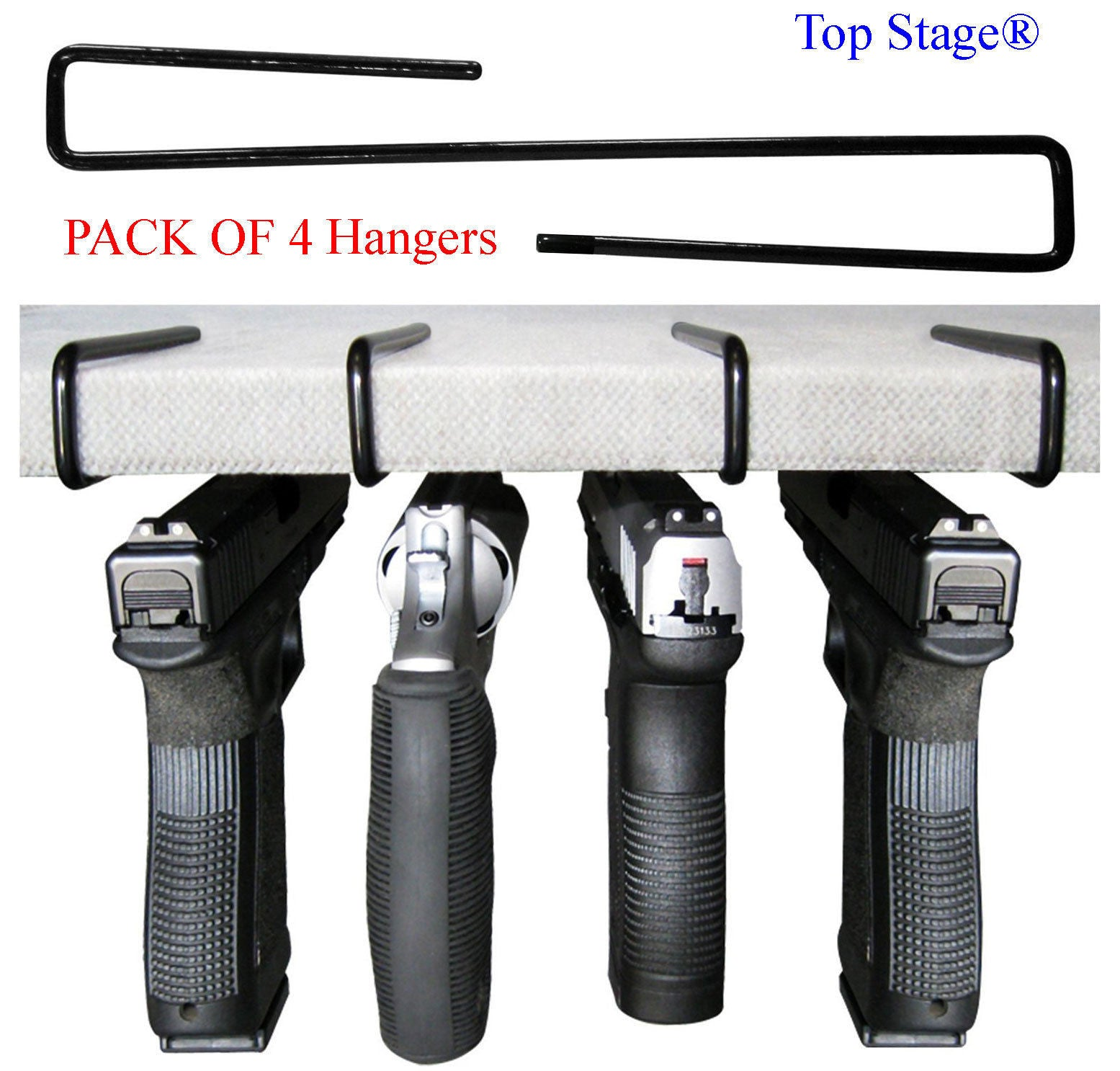 Gun Pistol Storage Rack - Pack of 4 Handgun Hangers