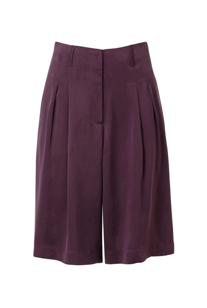 Caro tailored silk shorts - EGGPLANT