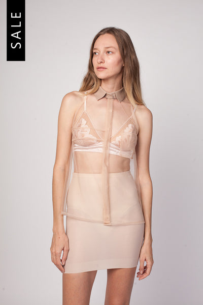 SANCERRE Tulle & Leather Top - Nude