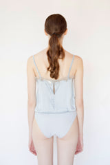 Monique silk bodysuit - Light blue color