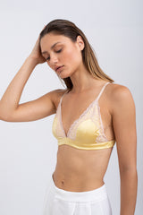 VIVI Satin Soft Bra - Yellow