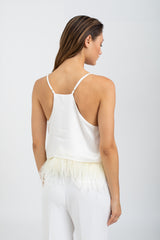 Milla Silk & Feathers camisole - White