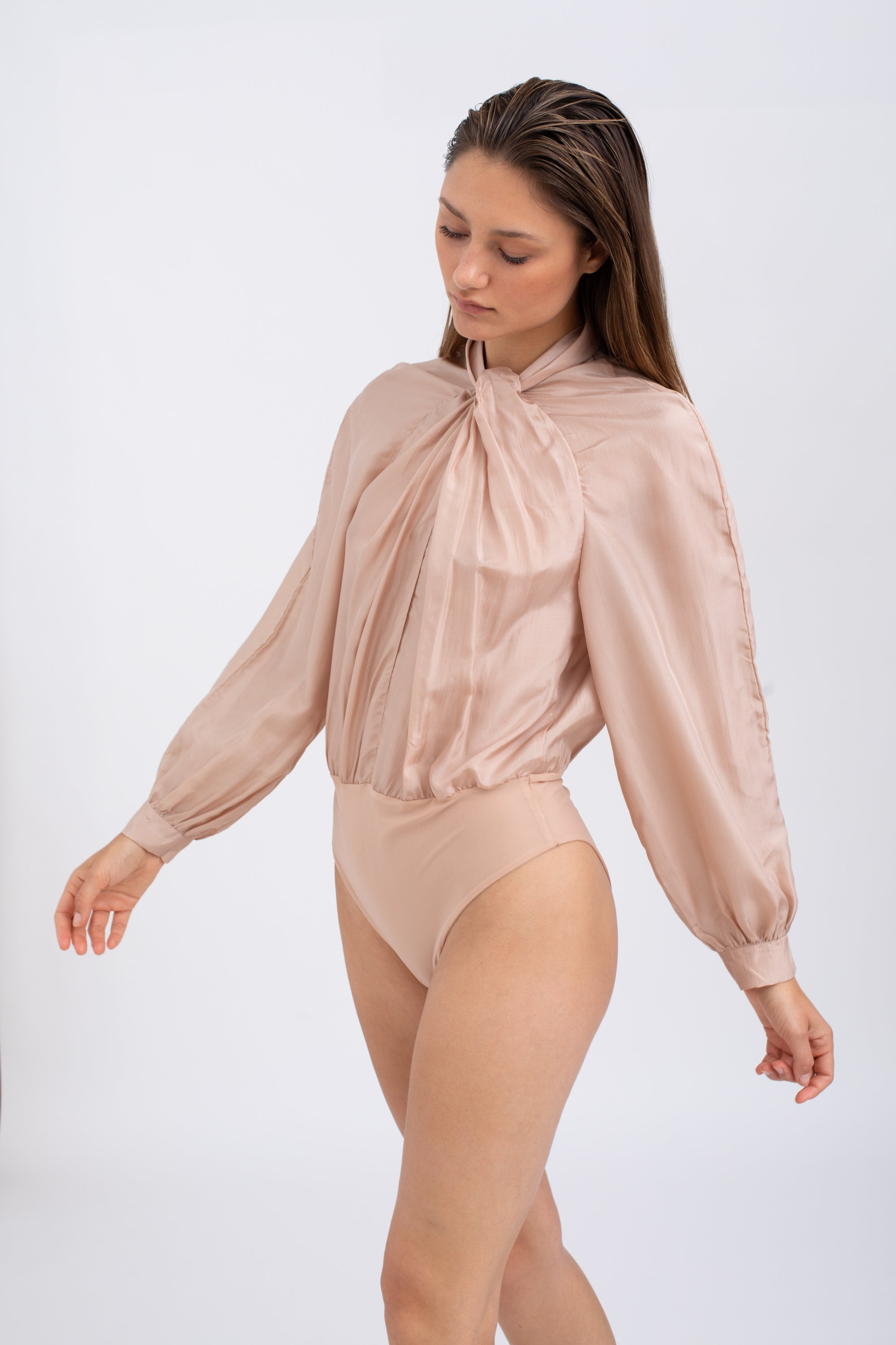 La Bohem - Silk bodysuit Blush color