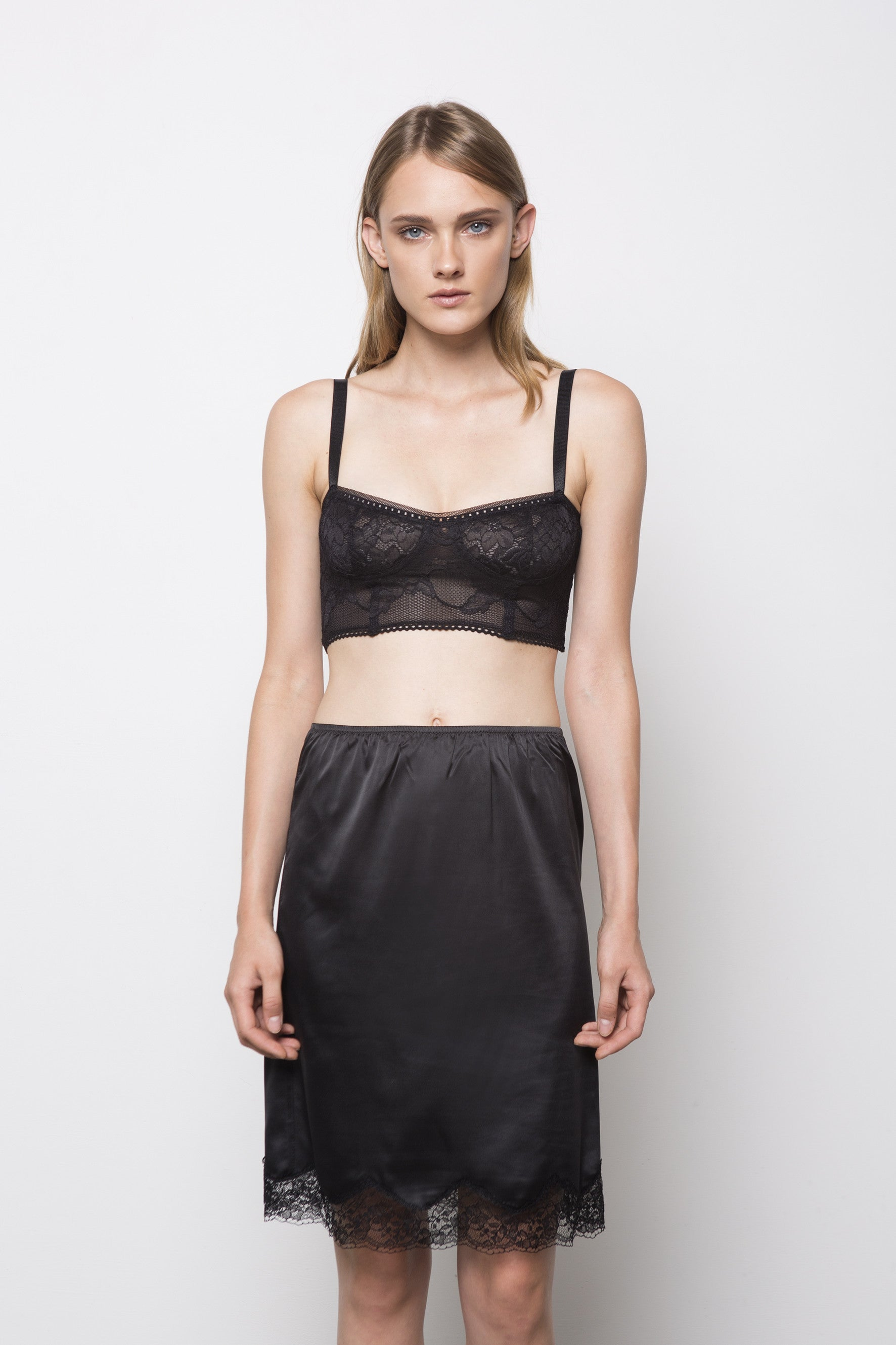 MANO Satin Slip Skirt - Black