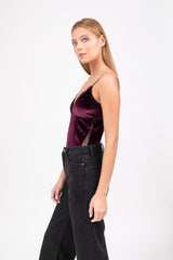 Barolo velvet bodysuit  - Deep purple