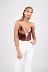 Barolo velvet bodysuit  - Light brown