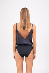 GARDA Silk Bodysuit - Deep Blue