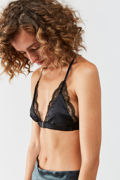 Livy  Front Closure  satin Bra - Black
