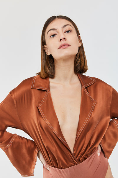GALEN SILK BODYSUIT - Ginger color