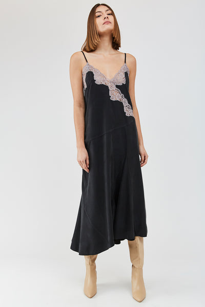 RENE Dress - Black & Smoked Lilac lace trim