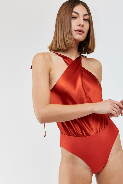Werther silk bodysuit - Candy Apple red