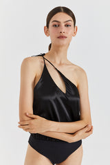 LEON SILK BODYSUIT - BLACK