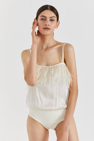 Milo silk & feathers bodysuit - Cream color