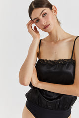 Monique silk bodysuit - Black color