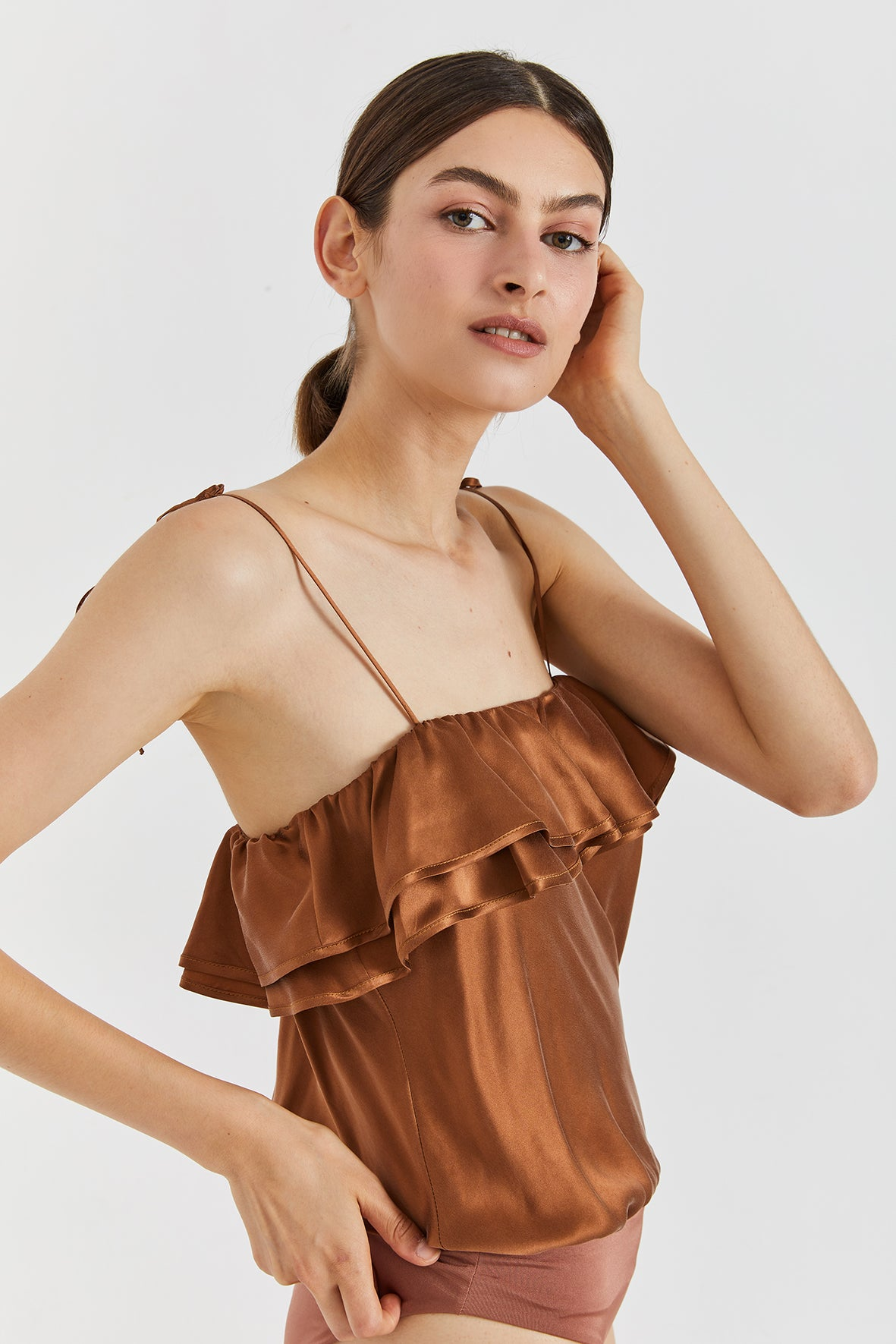 LULU RUFFLED SILK BODYSUIT