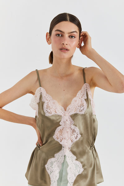 SABINE SILK & LACE CAMI - OLIVE & LIGHT PINK