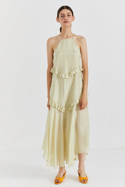 SIMONNE LIME SILK DRESS