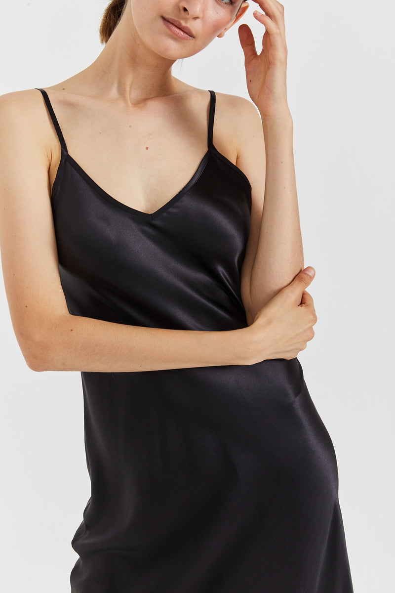 Mona Maxi Slip Dress - Black