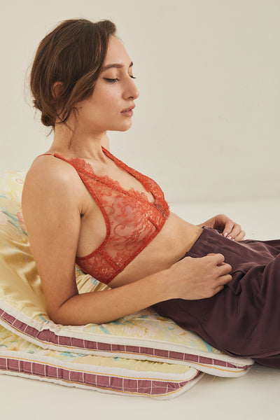 CAMELIALACE BRA ORANGE & SAGE