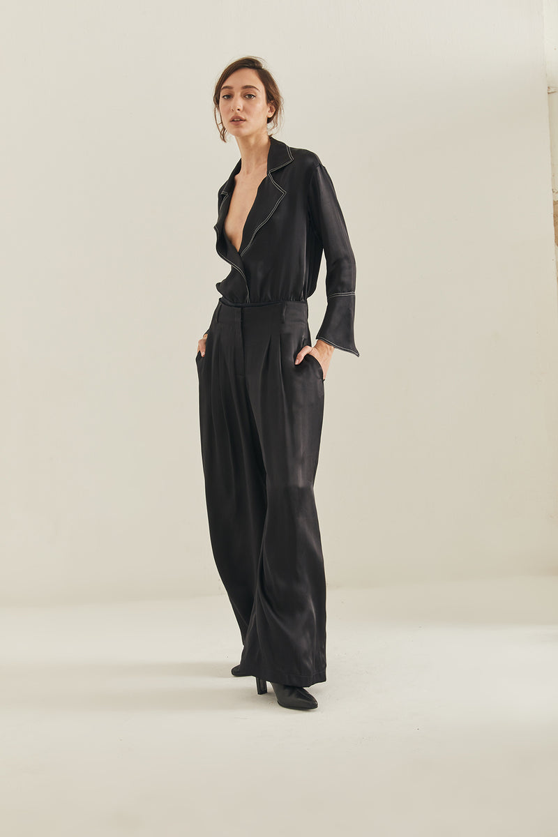 Tea Silk Wide Leg Pants - Black