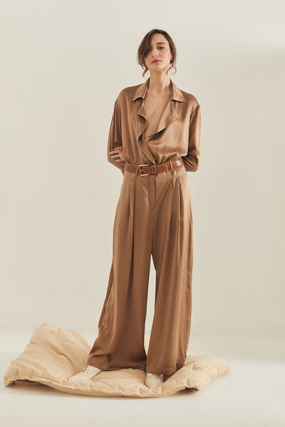 TEA' SILK WIDE-LEG PANTS - COFFEE