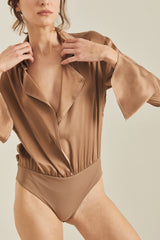 GALEN SILK BODYSUIT - Coffe