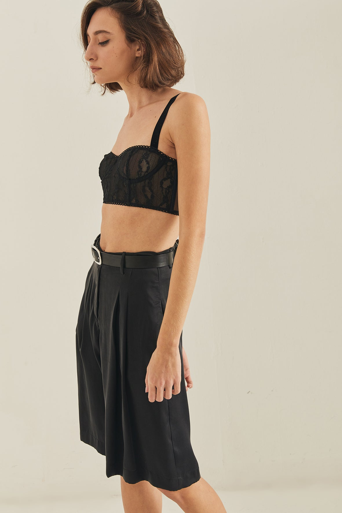 Caro tailored silk shorts - BLACK