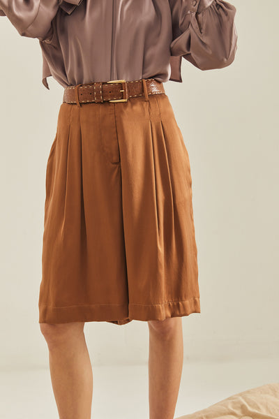 Caro tailored silk shorts - RUST