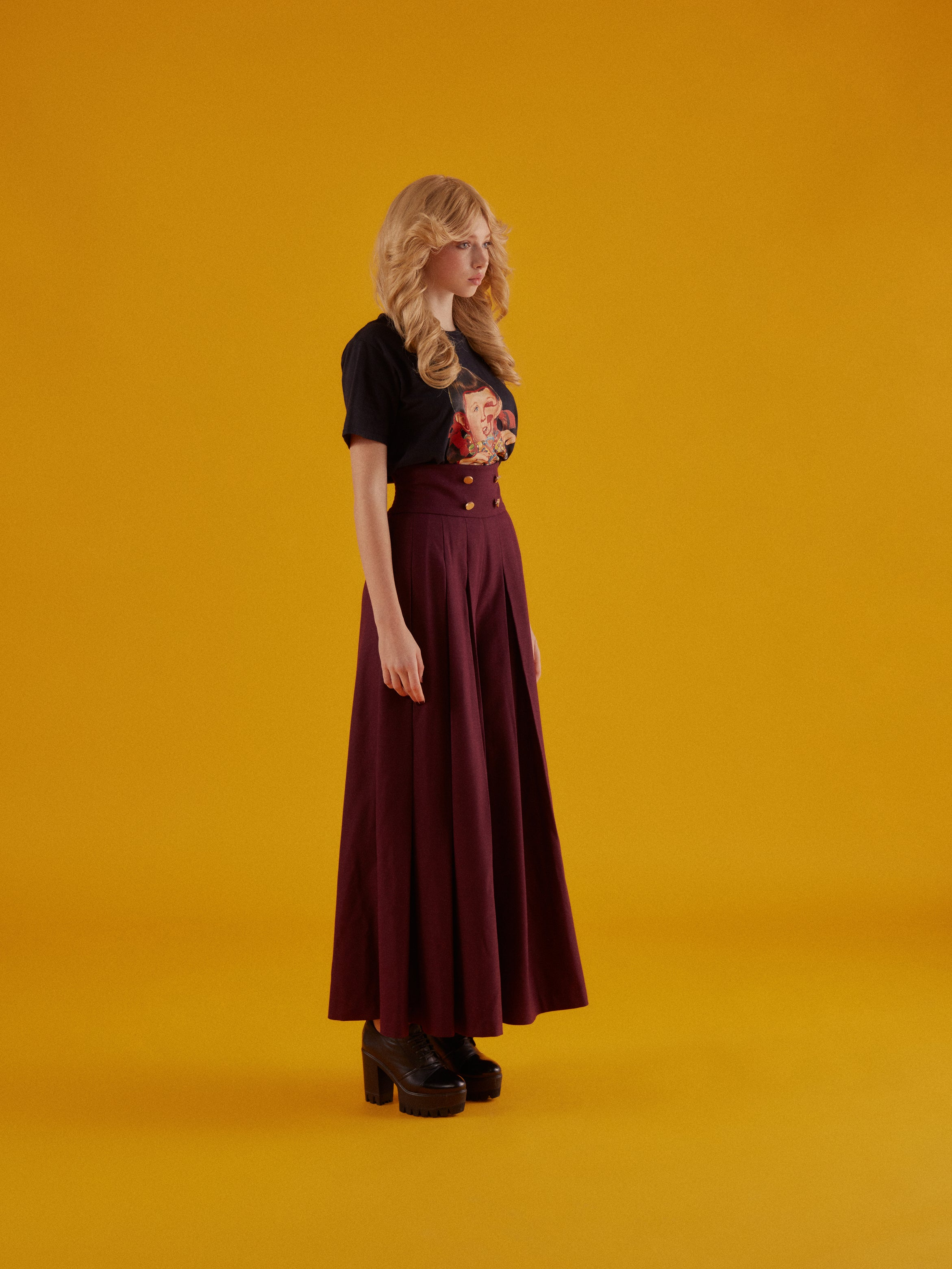 Burgundy High Waist Pleated Culottes