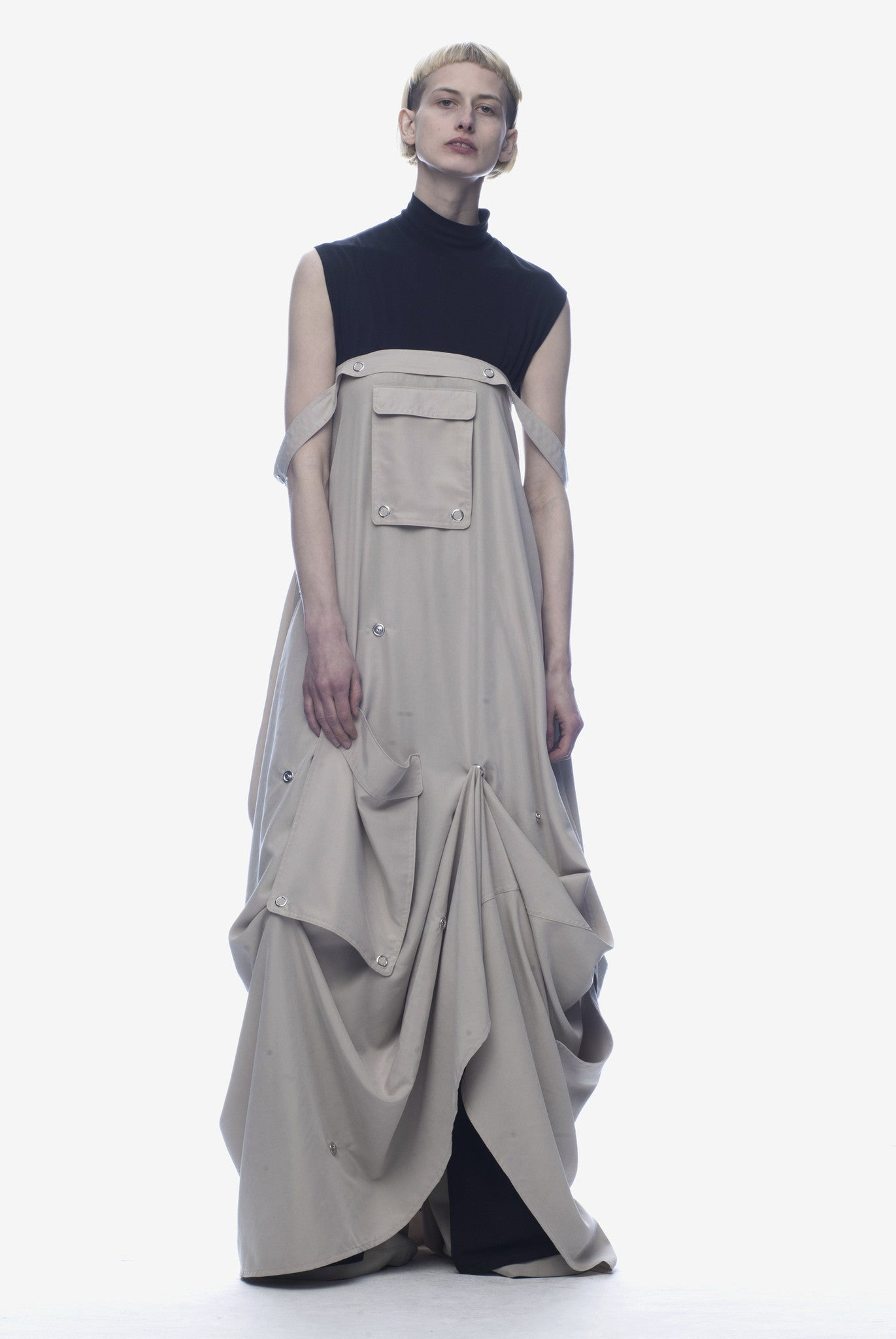 UNISEX SNAPS SKIRT-DRESS / BEIGE