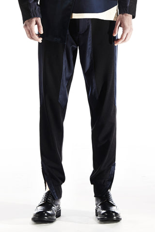 BOTTOMS - JERSEY TROUSERS WITH PIN STRIPES PANELS