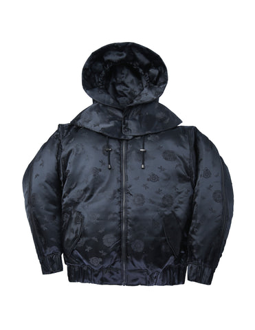 Brocade Puff Jacket Black