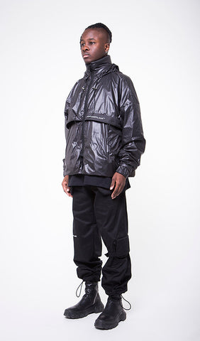 BLACK WAXED NYLON WINDBREAKER