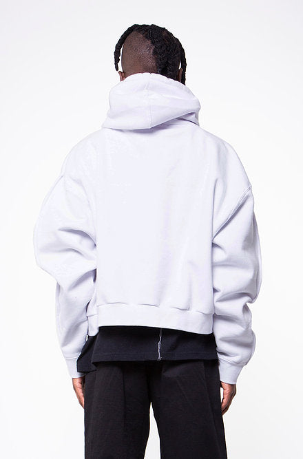 LONG SLEEVES CROPPED HOODED SWEATSHIRT IN WHITE