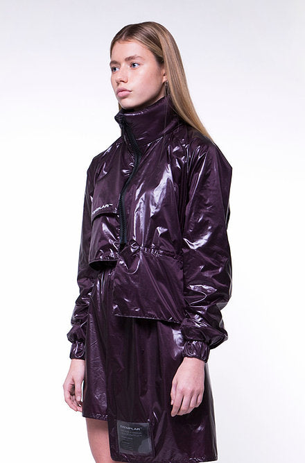 ASYMMETRIC JACKET IN PURPLE NYLON