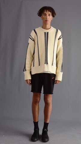 J - CREAM OVERSIZED STRIPED KNITWEAR