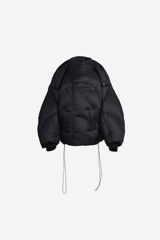 ASYMMETRICAL BLACK PUFFER JACKET