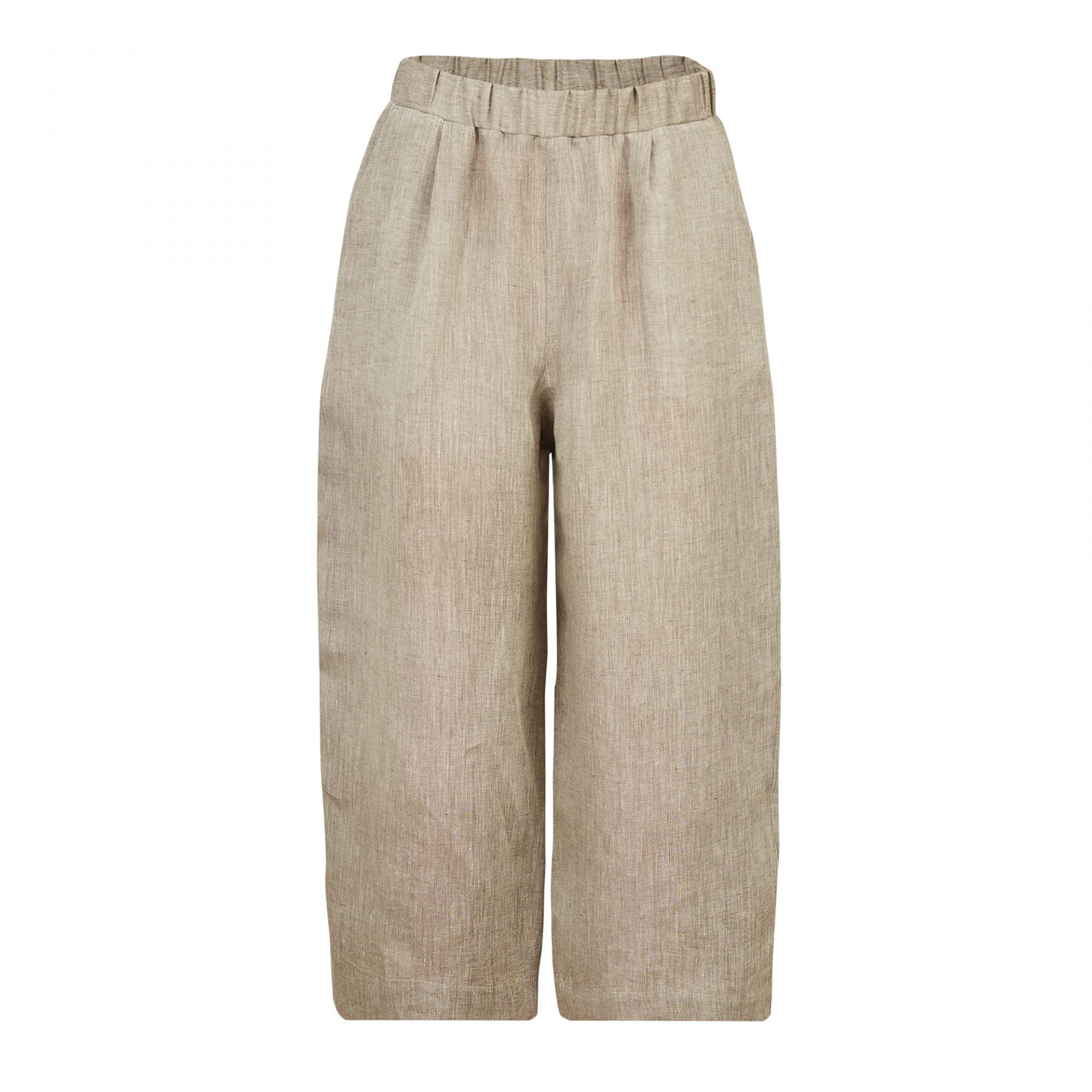 WIDE LEG ELASTIC BAND TROUSERS BEIGE