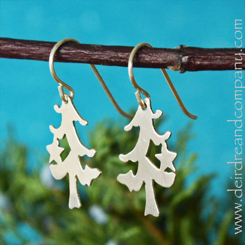 O Tannenbaum Christmas Tree Earrings in Sterling Silver