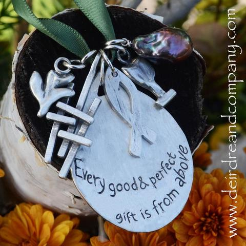 Faith Journey Marker Engraved Ornament Set in Pewter