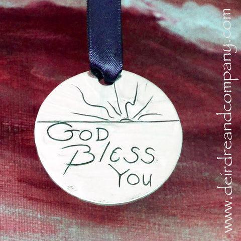 God Bless You Pewter Ornament