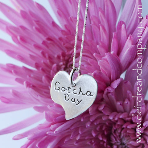 Gotcha Day Heart Necklace in Pewter