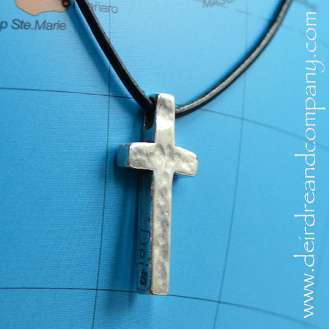 I Believe Sterling Cross on Leather