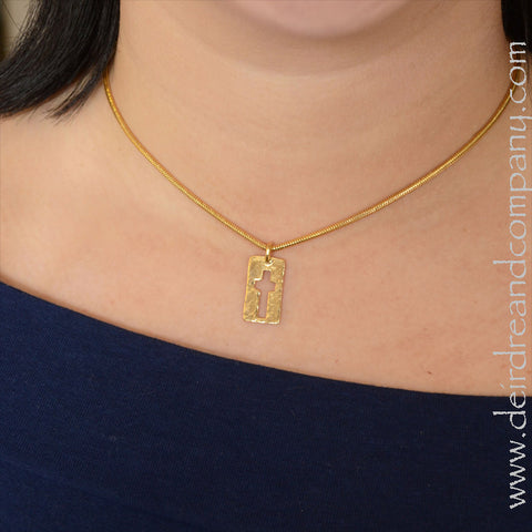Narrow Road Cross Necklace in 14K Gold Vermeil